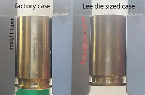 Click image for larger version.  Name:factory taper vs lee hourglass 9mm case.jpg Views:10 Size:44.9 KB ID:251700